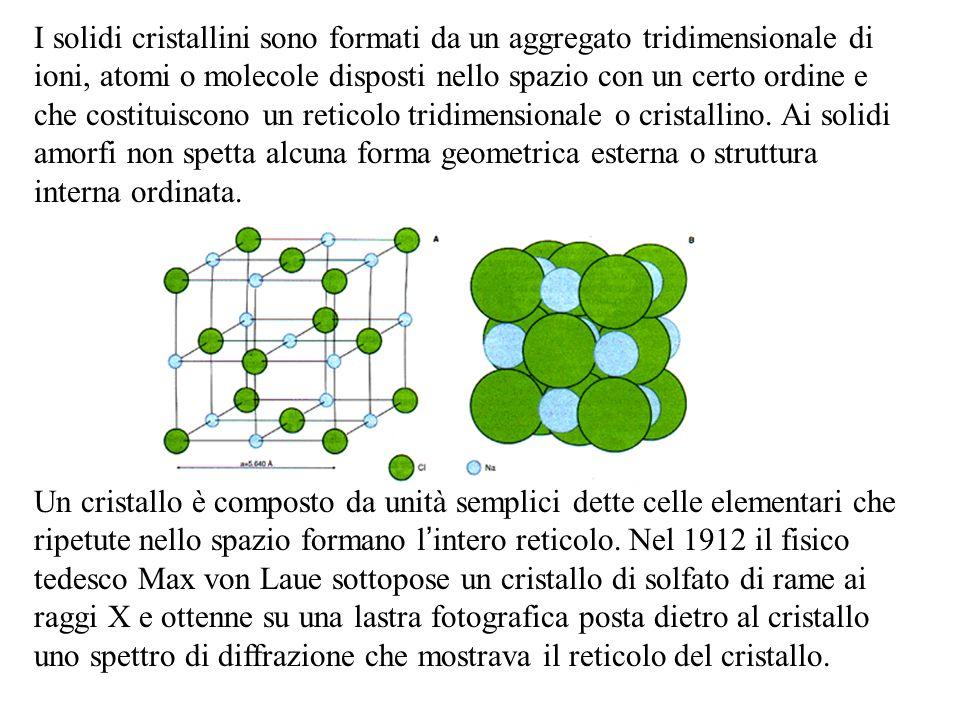 I solidi cristallini sono formati da un aggregato tridimensionale di ioni, atomi o molecole disposti nello spazio con un certo ordine e che costituisc