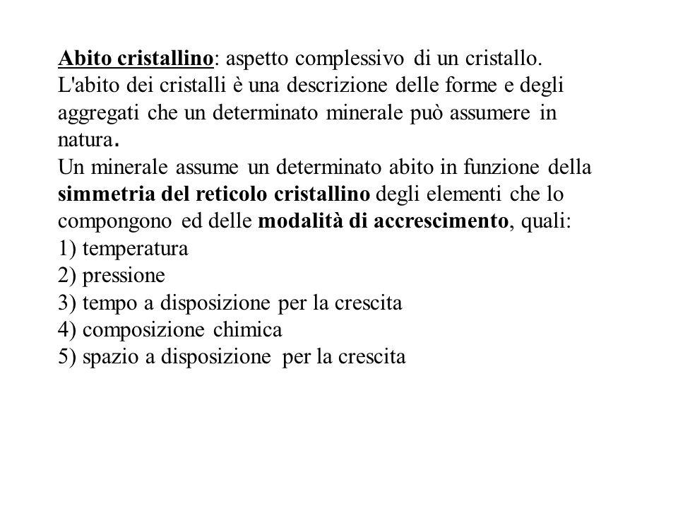 Abito cristallino: aspetto complessivo di un cristallo. L'abito dei cristalli è una descrizione delle forme e degli aggregati che un determinato miner