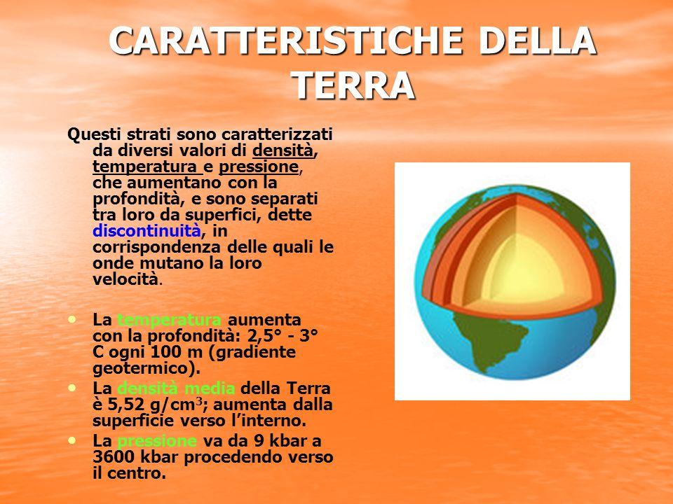 CARATTERISTICHE DELLA TERRA Questi strati sono caratterizzati da diversi valori di densità, temperatura e pressione, che aumentano con la profondità,