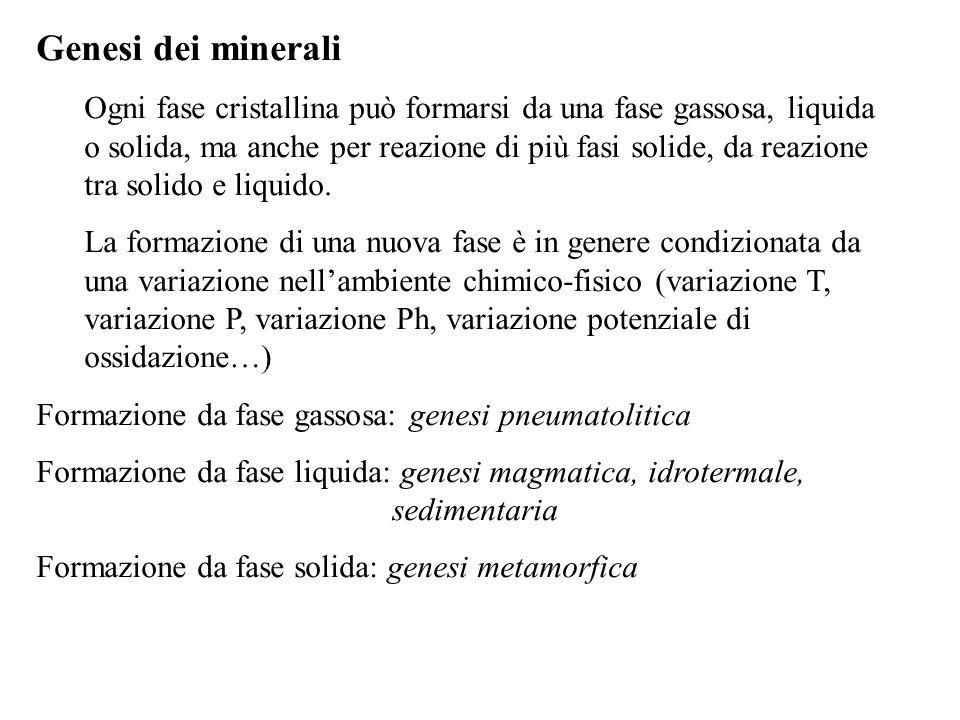 Genesi dei minerali Ogni fase cristallina può formarsi da una fase gassosa, liquida o solida, ma anche per reazione di più fasi solide, da reazione tr