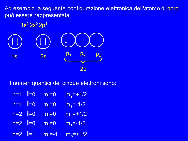Ad esempio la seguente configurazione elettronica dell'atomo di boro può essere rappresentata 1s 2 2s 2 2p 1 1s2s 2p pxpx pypy pzpz I numeri quantici