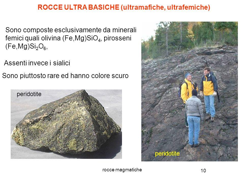 10 rocce magmatiche Sono composte esclusivamente da minerali femici quali olivina (Fe,Mg)SiO 4, pirosseni (Fe,Mg)Si 2 O 6, ROCCE ULTRA BASICHE (ultram