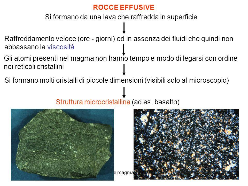 4 rocce magmatiche Si formano da una lava che raffredda in superficie ROCCE EFFUSIVE Raffreddamento veloce (ore - giorni) ed in assenza dei fluidi che