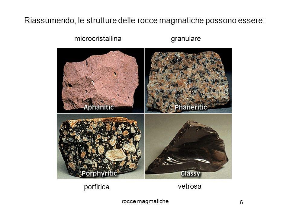 7 rocce magmatiche Alla classificazione genetica se ne sovrappone una basata sulla composizione chimica Rocce magmatiche Acide Basiche Ricche in Si ed Al, povere in Fe ed Mg Ricche in Fe ed Mg, povere in Si ed Al CLASSIFICAZIONE CHIMICA DELLE ROCCE MAGMATICHE Intermedie Composizione intermedia La composizione chimica influisce sul colore della roccia I termini acido e basico non hanno niente a che vedere col pH, ma si riferiscono al contenuto in silice