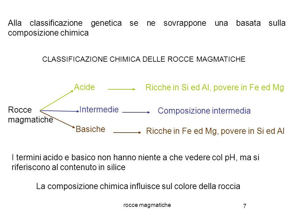 7 rocce magmatiche Alla classificazione genetica se ne sovrappone una basata sulla composizione chimica Rocce magmatiche Acide Basiche Ricche in Si ed