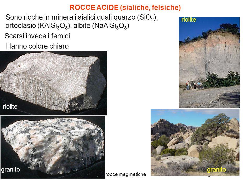 8 rocce magmatiche Sono ricche in minerali sialici quali quarzo (SiO 2 ), ortoclasio (KAlSi 3 O 8 ), albite (NaAlSi 3 O 8 ) ROCCE ACIDE (sialiche, fel