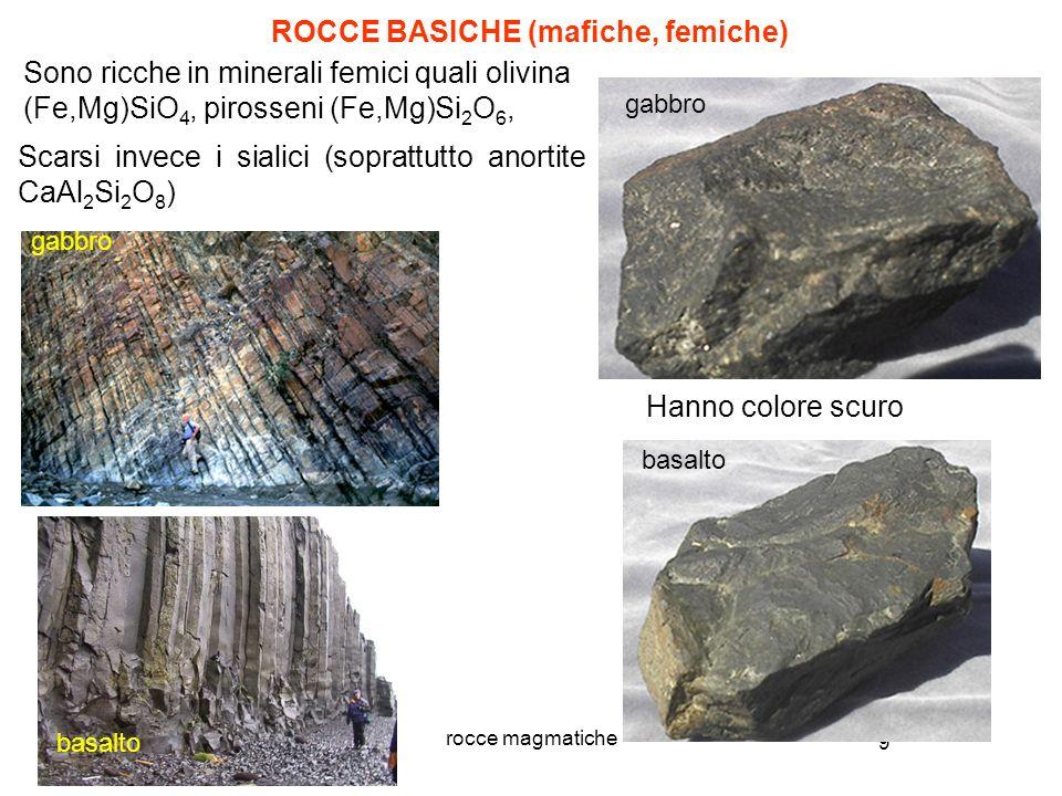 9 rocce magmatiche Sono ricche in minerali femici quali olivina (Fe,Mg)SiO 4, pirosseni (Fe,Mg)Si 2 O 6, ROCCE BASICHE (mafiche, femiche) Scarsi invec