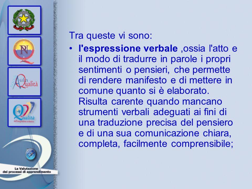 Tra queste vi sono: l'espressione verbale,ossia l'atto e il modo di tradurre in parole i propri sentimenti o pensieri, che permette di rendere manifes