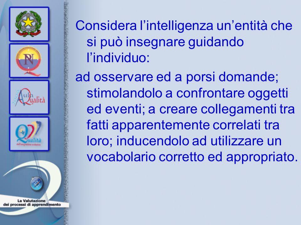 Considera lintelligenza unentità che si può insegnare guidando lindividuo: ad osservare ed a porsi domande; stimolandolo a confrontare oggetti ed even