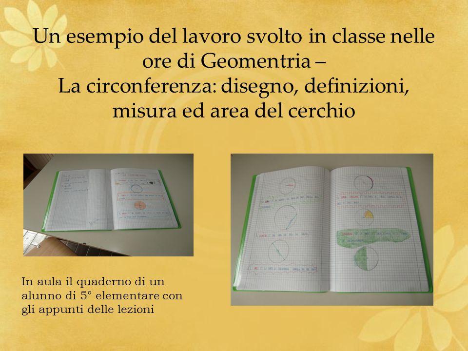 Un esempio del lavoro svolto in classe nelle ore di Geomentria – La circonferenza: disegno, definizioni, misura ed area del cerchio In aula il quadern