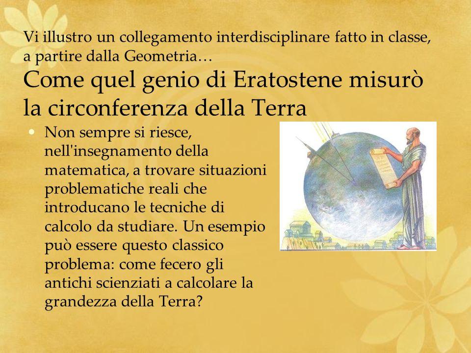 Vi illustro un collegamento interdisciplinare fatto in classe, a partire dalla Geometria… Come quel genio di Eratostene misurò la circonferenza della