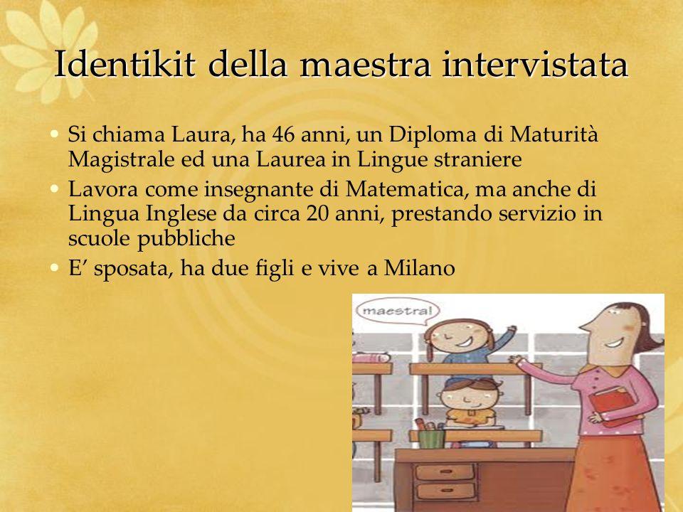 Identikit della maestra intervistata Si chiama Laura, ha 46 anni, un Diploma di Maturità Magistrale ed una Laurea in Lingue straniere Lavora come inse