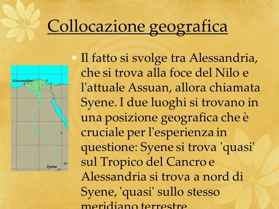 Collocazione geografica Il fatto si svolge tra Alessandria, che si trova alla foce del Nilo e l'attuale Assuan, allora chiamata Syene. I due luoghi si