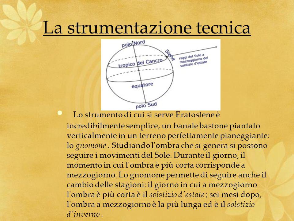 La strumentazione tecnica Lo strumento di cui si serve Eratostene è incredibilmente semplice, un banale bastone piantato verticalmente in un terreno p