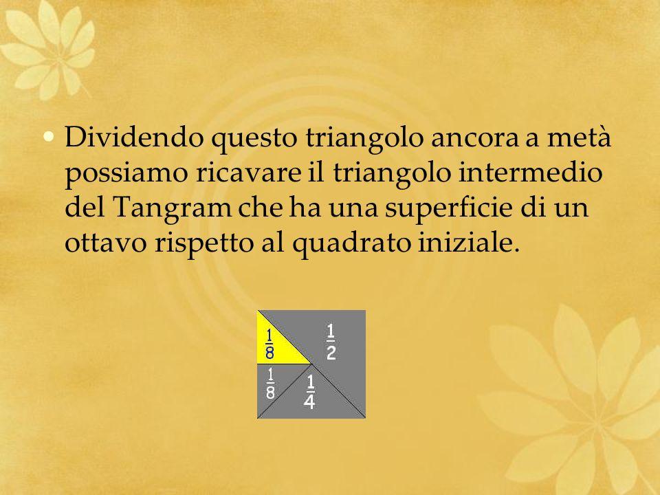 Dividendo questo triangolo ancora a metà possiamo ricavare il triangolo intermedio del Tangram che ha una superficie di un ottavo rispetto al quadrato