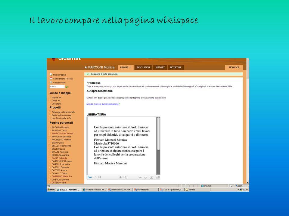 Il lavoro compare nella pagina wikispace