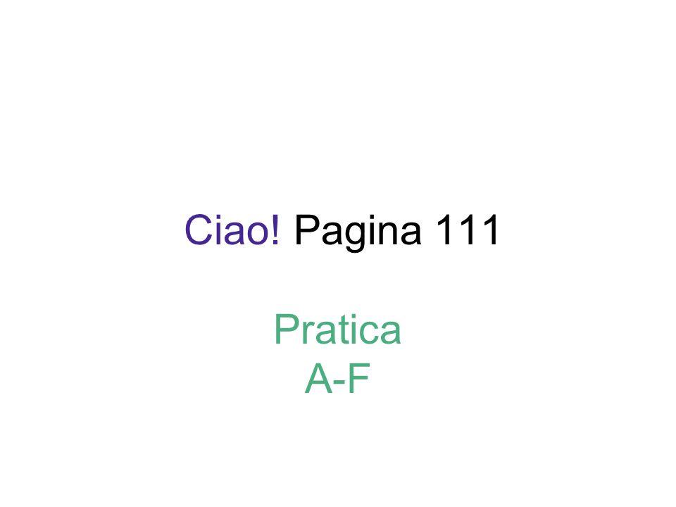 Ciao! Pagina 111 Pratica A-F