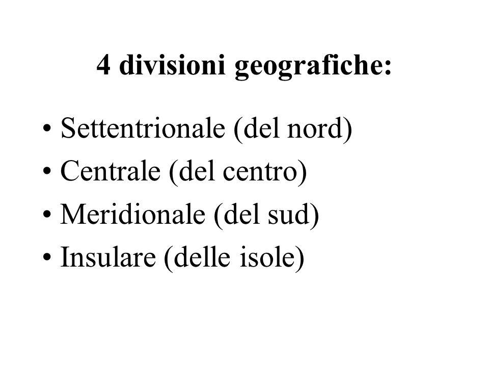 4 divisioni geografiche: Settentrionale (del nord) Centrale (del centro) Meridionale (del sud) Insulare (delle isole)