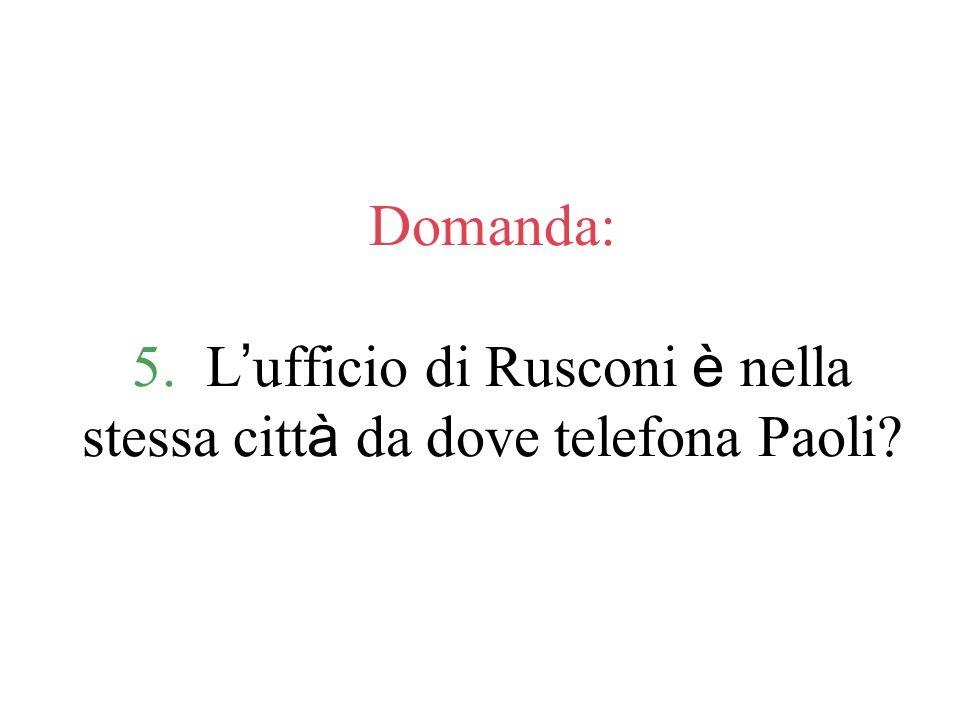 Domanda: 6. La telefonata di Rusconi è personale o d affari?