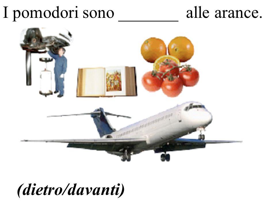 (dietro/davanti) I pomodori sono _______ alle arance.