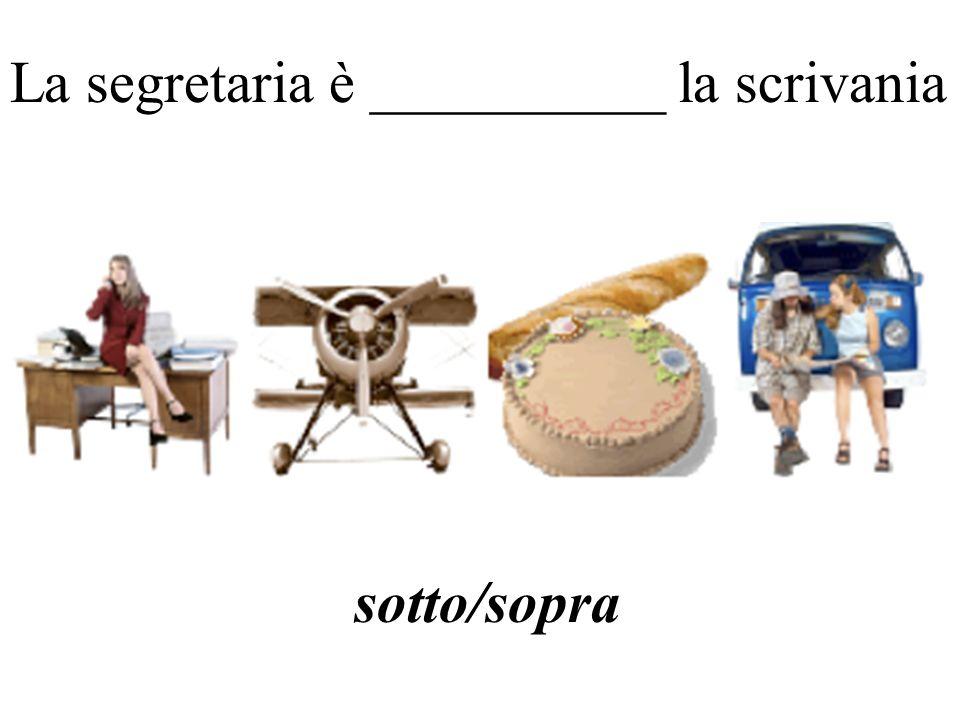 La segretaria è __________ la scrivania sotto/sopra