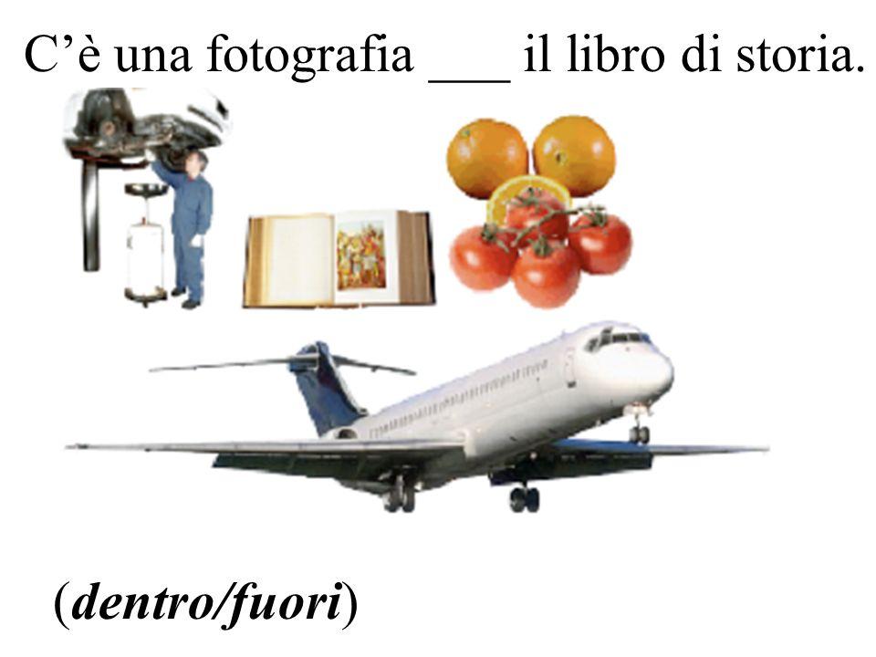 Cè una fotografia ___ il libro di storia. (dentro/fuori)