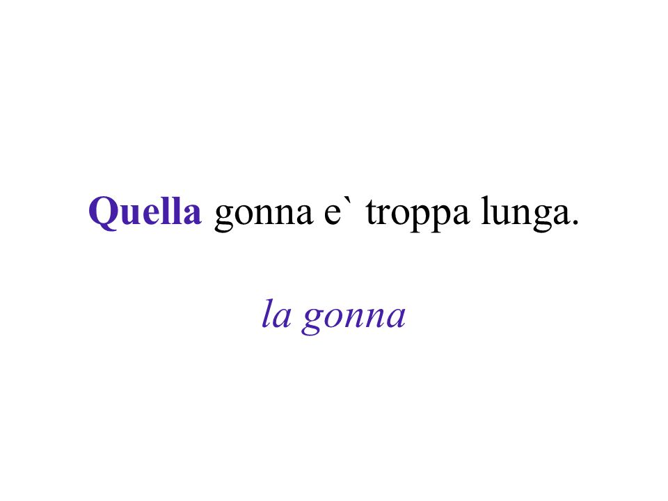 Quella gonna e` troppa lunga. la gonna