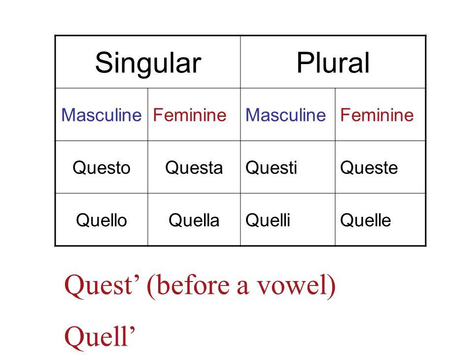 SingularPlural MasculineFeminineMasculineFeminine QuestoQuestaQuestiQueste QuelloQuellaQuelliQuelle Quest (before a vowel) Quell
