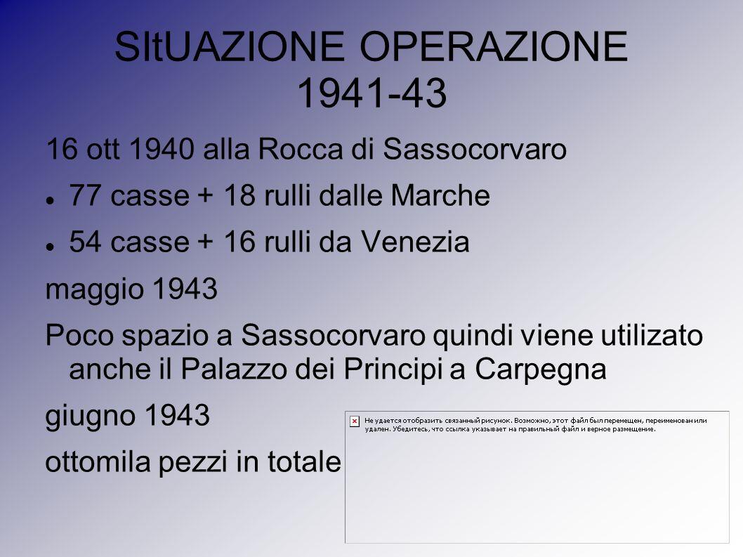 SItUAZIONE OPERAZIONE 1941-43 16 ott 1940 alla Rocca di Sassocorvaro 77 casse + 18 rulli dalle Marche 54 casse + 16 rulli da Venezia maggio 1943 Poco
