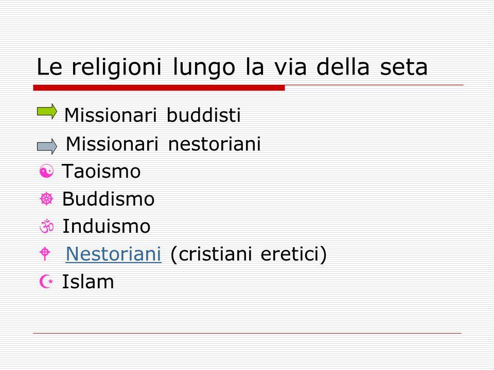 Le religioni lungo la via della seta Missionari buddisti Missionari nestoriani Taoismo Buddismo Induismo Nestoriani (cristiani eretici)Nestoriani Islam