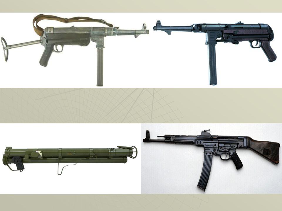 Armi da fuoco Le armi automatiche hanno rappresentato la vera innovazione per tutte le truppe di fanteria come ad esempio le mp38 mp40 (entrambe tedes