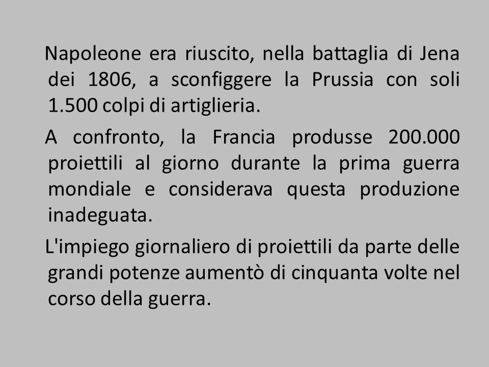 Napoleone era riuscito, nella battaglia di Jena dei 1806, a sconfiggere la Prussia con soli 1.500 colpi di artiglieria. A confronto, la Francia produs