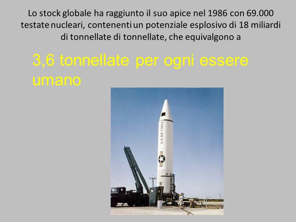 Lo stock globale ha raggiunto il suo apice nel 1986 con 69.000 testate nucleari, contenenti un potenziale esplosivo di 18 miliardi di tonnellate di to