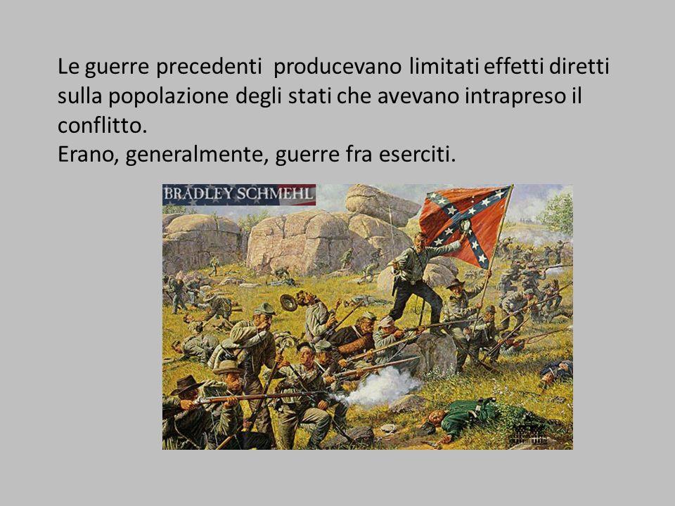 Le guerre precedenti producevano limitati effetti diretti sulla popolazione degli stati che avevano intrapreso il conflitto. Erano, generalmente, guer