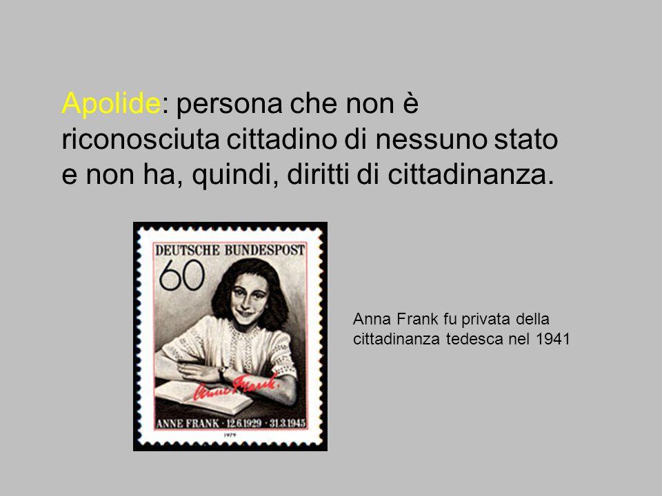 Apolide: persona che non è riconosciuta cittadino di nessuno stato e non ha, quindi, diritti di cittadinanza. Anna Frank fu privata della cittadinanza