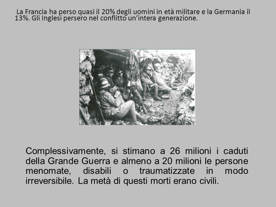 La Francia ha perso quasi il 20% degli uomini in età militare e la Germania il 13%. Gli Inglesi persero nel conflitto unintera generazione. Complessiv