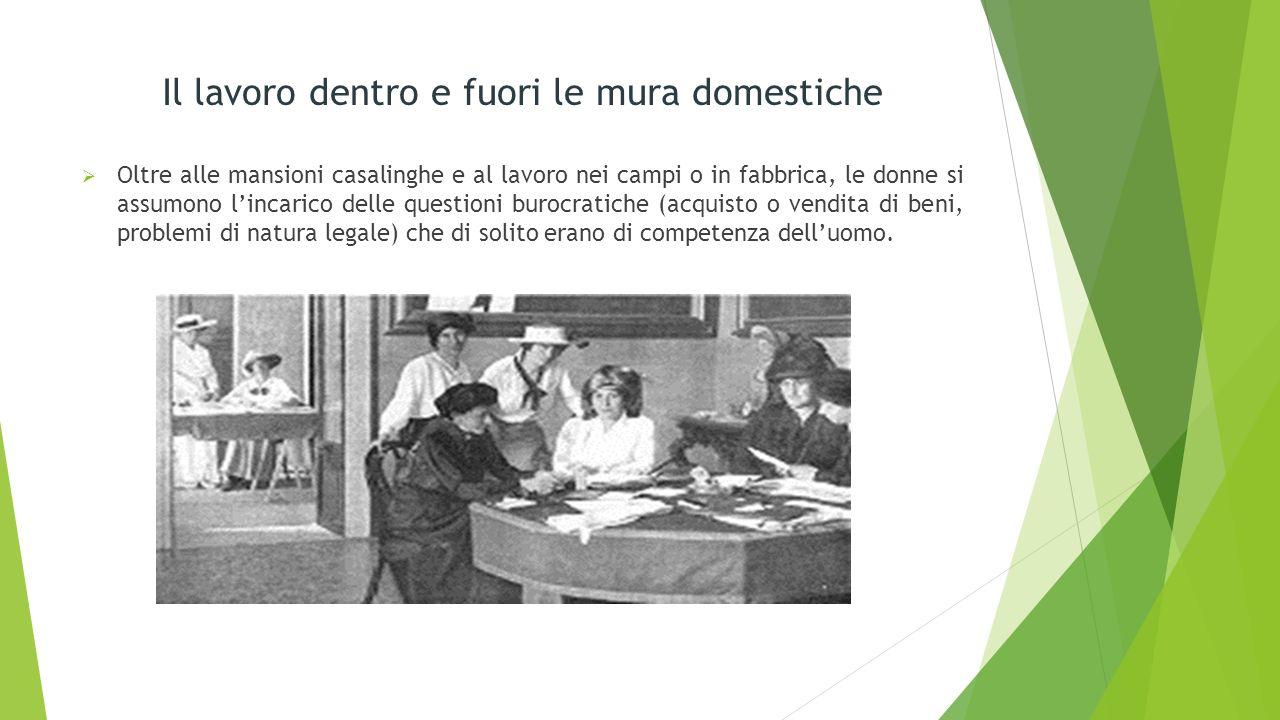 Il lavoro dentro e fuori le mura domestiche Oltre alle mansioni casalinghe e al lavoro nei campi o in fabbrica, le donne si assumono lincarico delle q