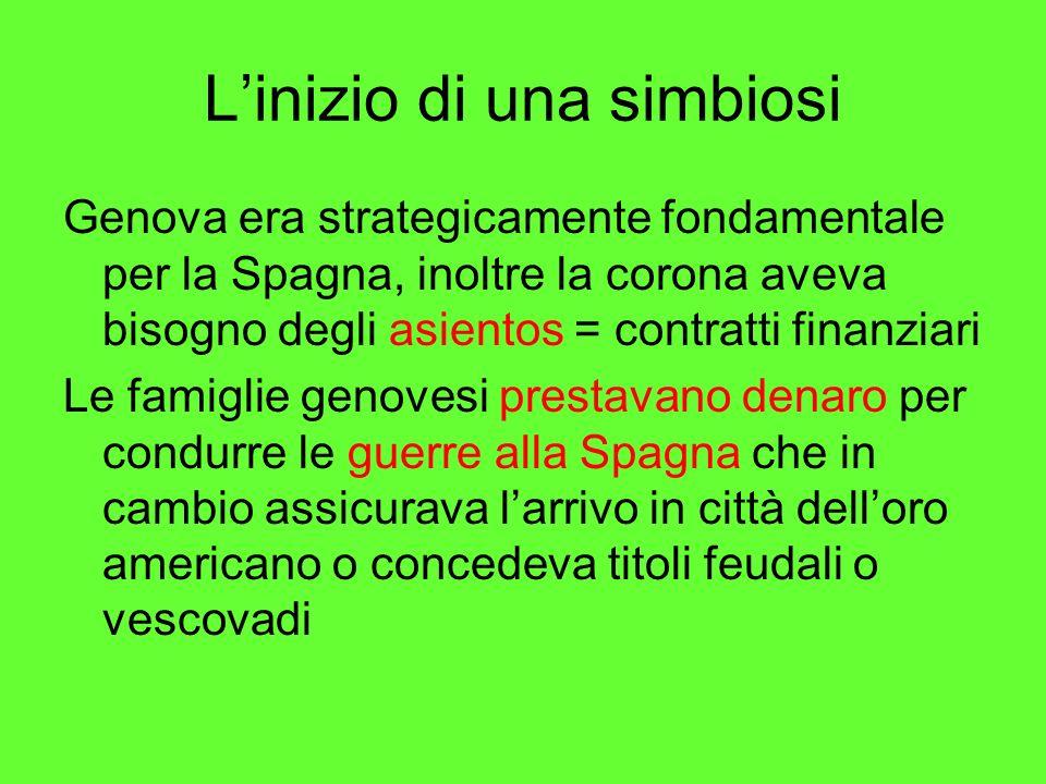 Linizio di una simbiosi Genova era strategicamente fondamentale per la Spagna, inoltre la corona aveva bisogno degli asientos = contratti finanziari L