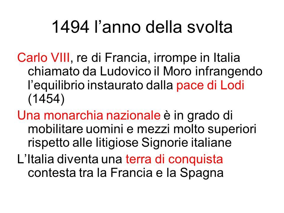 1494 lanno della svolta Carlo VIII, re di Francia, irrompe in Italia chiamato da Ludovico il Moro infrangendo lequilibrio instaurato dalla pace di Lod