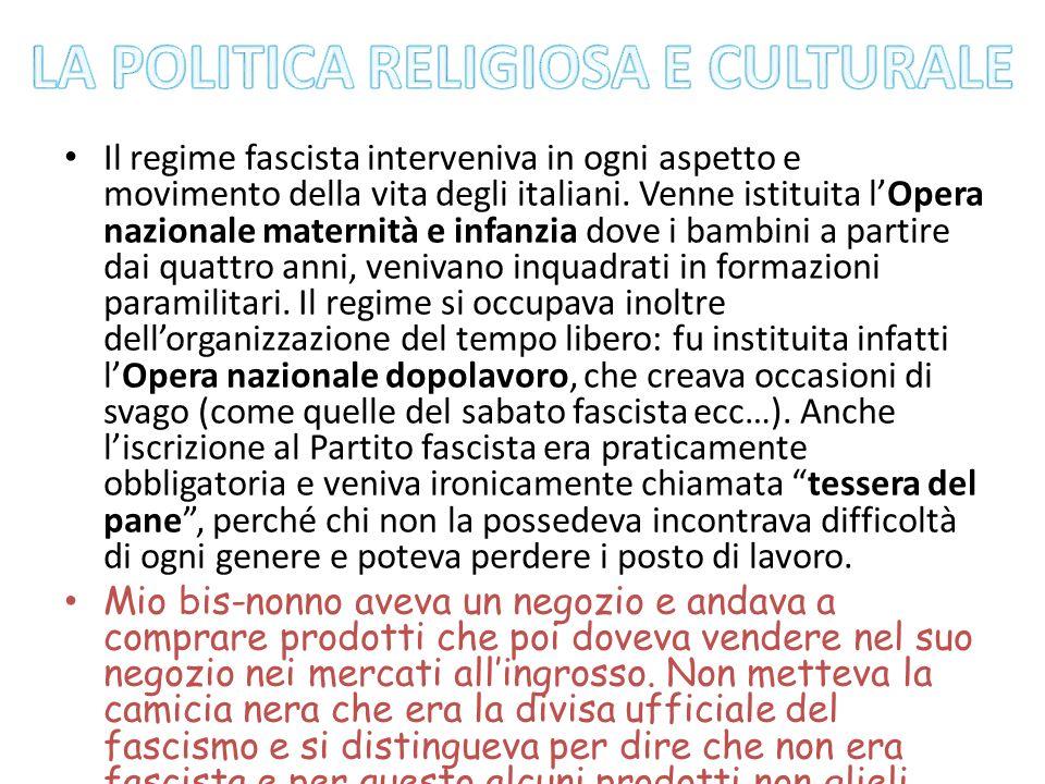 Il regime fascista interveniva in ogni aspetto e movimento della vita degli italiani. Venne istituita lOpera nazionale maternità e infanzia dove i bam