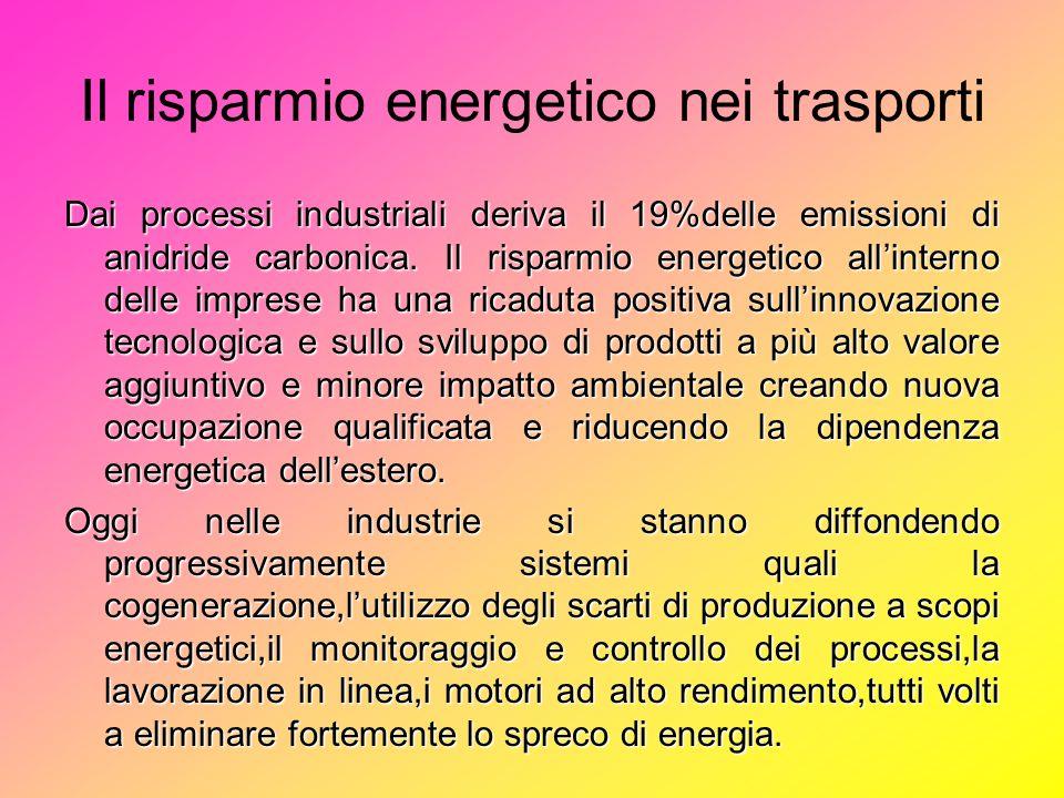 Il risparmio energetico nei trasporti Dai processi industriali deriva il 19%delle emissioni di anidride carbonica.