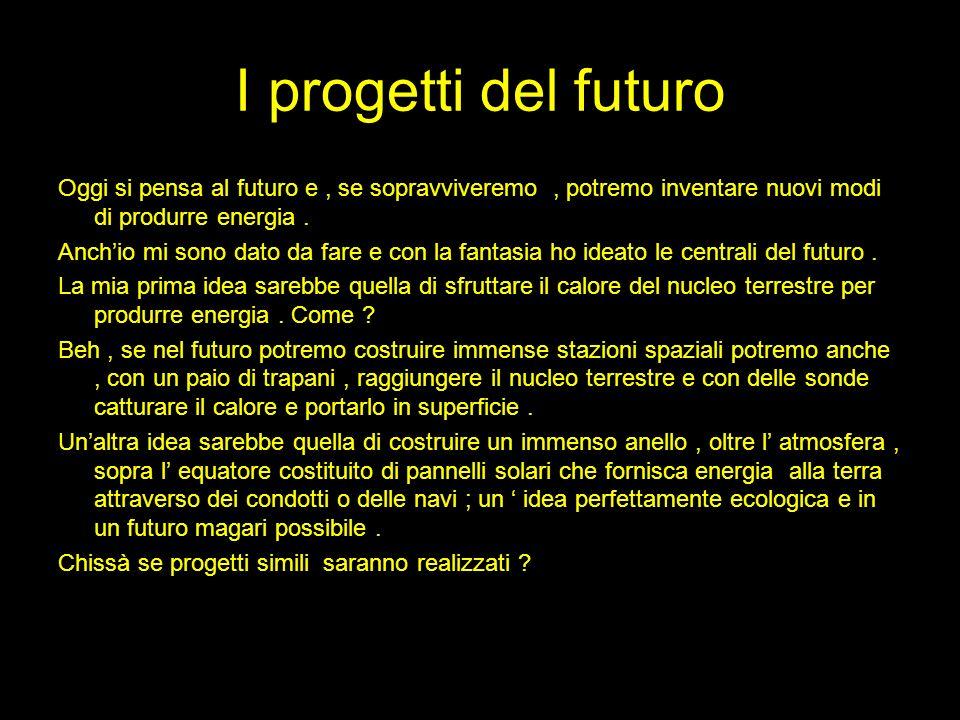 I progetti del futuro Oggi si pensa al futuro e, se sopravviveremo, potremo inventare nuovi modi di produrre energia. Anchio mi sono dato da fare e co
