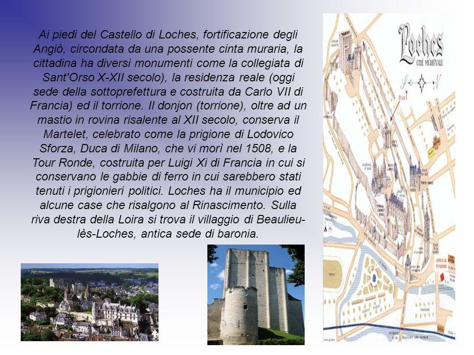 Ai piedi del Castello di Loches, fortificazione degli Angiò, circondata da una possente cinta muraria, la cittadina ha diversi monumenti come la colle
