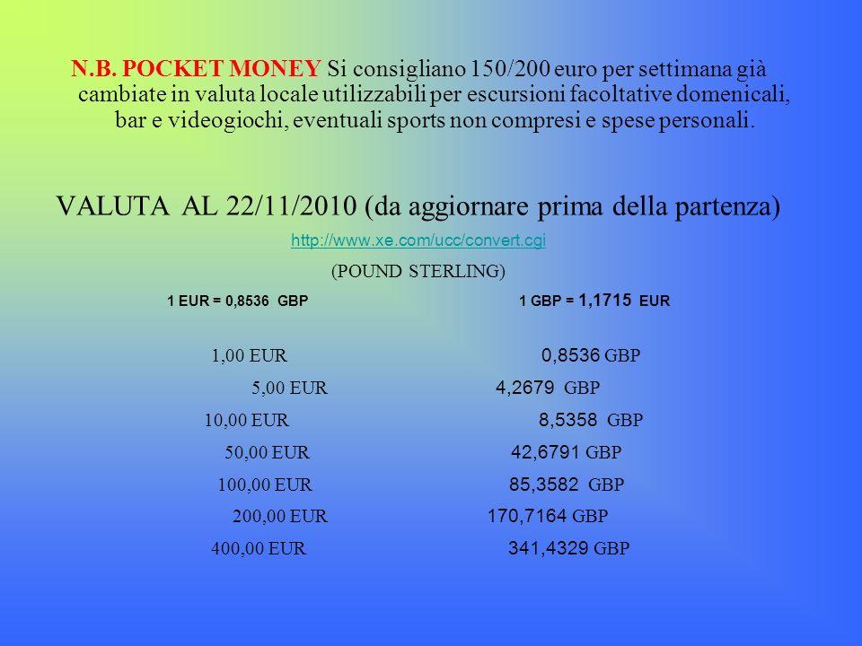 N.B. POCKET MONEY Si consigliano 150/200 euro per settimana già cambiate in valuta locale utilizzabili per escursioni facoltative domenicali, bar e vi