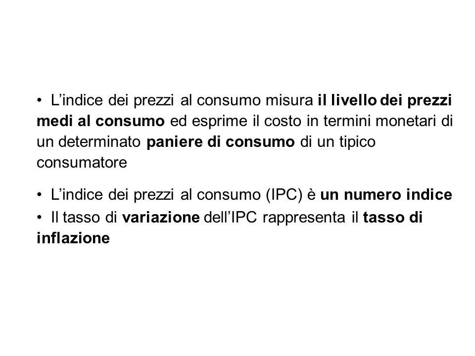 Lindice dei prezzi al consumo misura il livello dei prezzi medi al consumo ed esprime il costo in termini monetari di un determinato paniere di consum