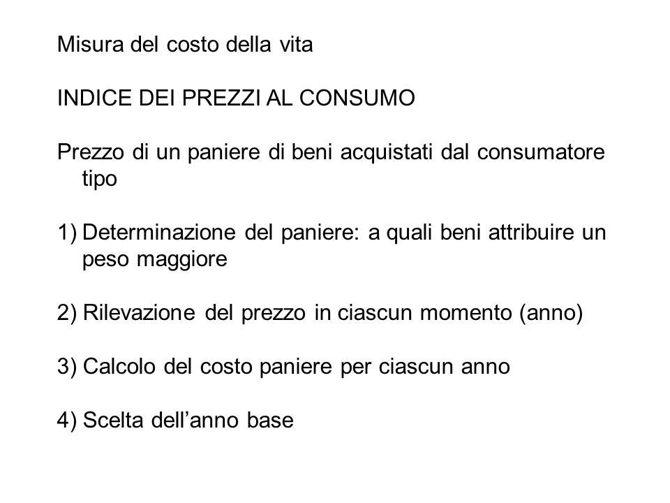 Misura del costo della vita INDICE DEI PREZZI AL CONSUMO Prezzo di un paniere di beni acquistati dal consumatore tipo 1)Determinazione del paniere: a