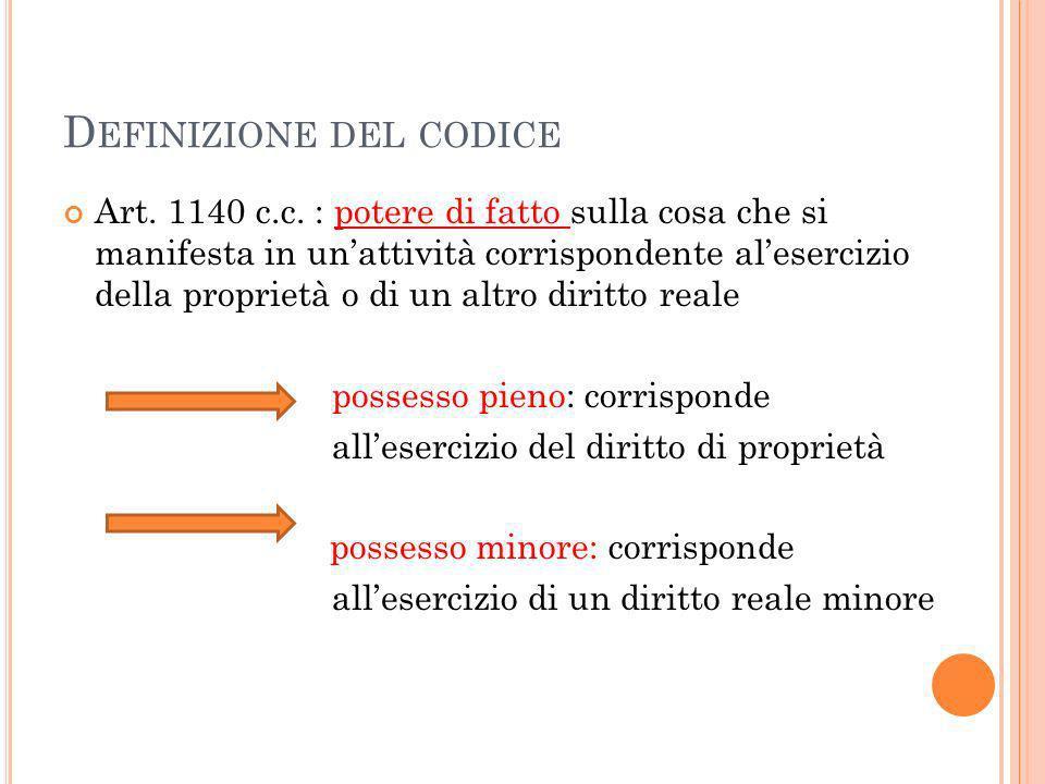 D EFINIZIONE DEL CODICE Art. 1140 c.c. : potere di fatto sulla cosa che si manifesta in unattività corrispondente alesercizio della proprietà o di un