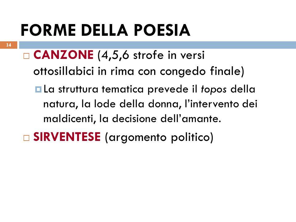 FORME DELLA POESIA 14 CANZONE (4,5,6 strofe in versi ottosillabici in rima con congedo finale) La struttura tematica prevede il topos della natura, la