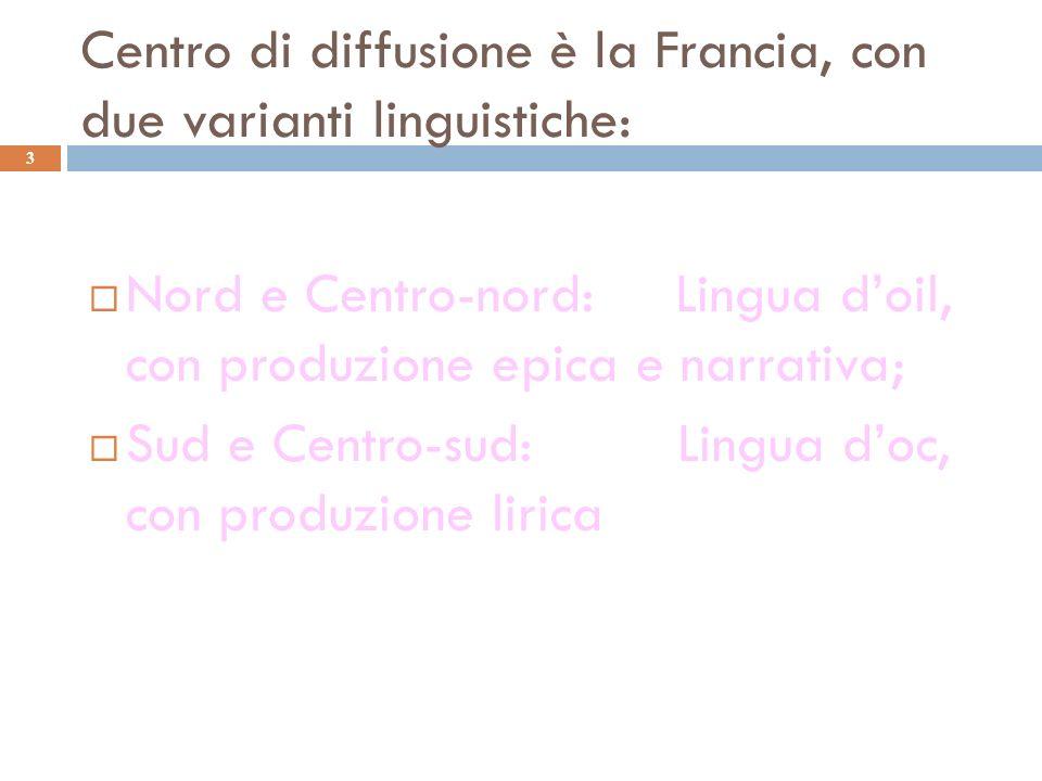 Centro di diffusione è la Francia, con due varianti linguistiche: 3 Nord e Centro-nord: Lingua doil, con produzione epica e narrativa; Sud e Centro-su