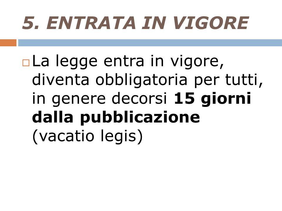 5. ENTRATA IN VIGORE La legge entra in vigore, diventa obbligatoria per tutti, in genere decorsi 15 giorni dalla pubblicazione (vacatio legis)